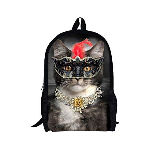 TOREEP Fashion Animal Cat Print Canvas Backpack Teens School Book Bag Fendi Spy White Bag