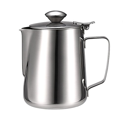 Anself Stainless Steel Milk Frothing Pitcher Coffee Foam Container Milk Cup Espresso Measuring Cups 12/20 / 32OZ (32OZ)