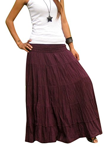 Billy's Thai Shop Women's Long Maxi Pleated Skirt with Elastic Smocked Waist One Size Fits Most. Violet