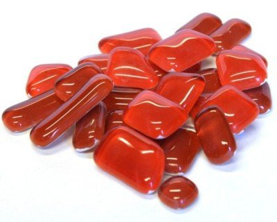 Crystal Glass Mosaic Tile Shapes Poppy Red by Hobby Island Mosaics