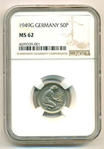 1949 DE West Germany 50 Pfennig MS62 NGC