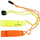 (2 Pack)Safety Whistle Double Tube Loud All Weather for Outdoor Hiking Camping Climbing Boating with Lanyard by Aneew, Emergency Survival Use (Yellow+Orange)