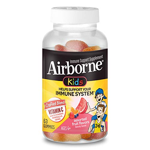Vitamin C 500mg - Airborne Kids Assorted Fruit Flavored Gummies (63 count in a bottle), Gluten-Free Immune Support Supplement with Echinacea and Ginger, Packaging May Vary