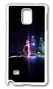 MOKSHOP Adorable Beautiful city at night 01 Hard Case Protective Shell Cell Phone Cover For Samsung Galaxy Note 4 - PC White