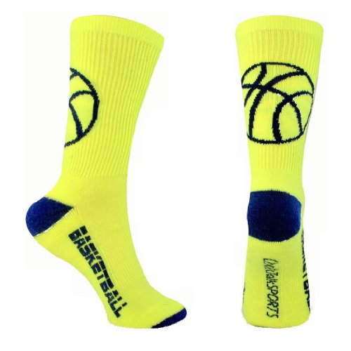 Athletic Half Cushioned Crew Socks | Basketball Silhouette Design | - Neon Blue Navy