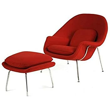 Mid Century Saarinen Style Womb Chair and Ottoman - Red Cashmere Wool Blend (High Quality)