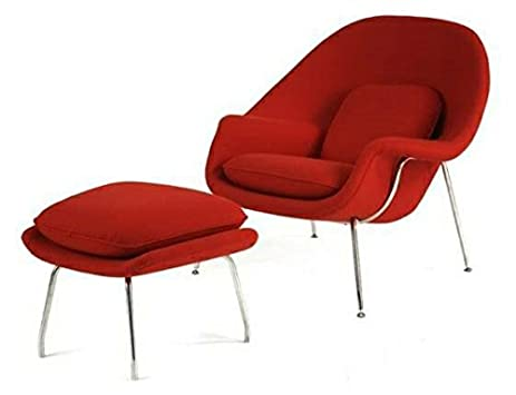 amazon com mid century saarinen style womb chair and ottoman red