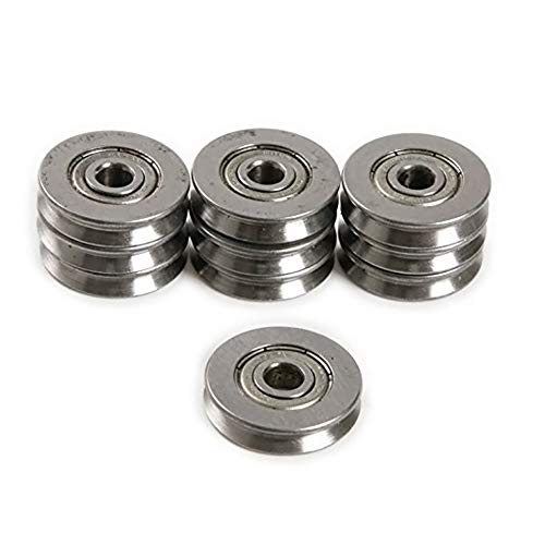 Bearing Steel V Groved Wire Pulley Bearing Wheels Roller 5x22x5mm, 5 Pcs