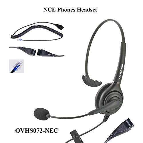 OvisLink Corded NEC SL1100 Headset | Noise Cancelling Microphone Headset Compatible with All NEC Telephones | RJ9 Headset Quick Disconnect Cord Included | 2 Years Warranty