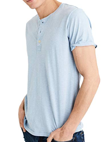 American Eagle Outfitters Mens Short Sleeve Washed Henley Shirt Light Blue (X-Large) ()