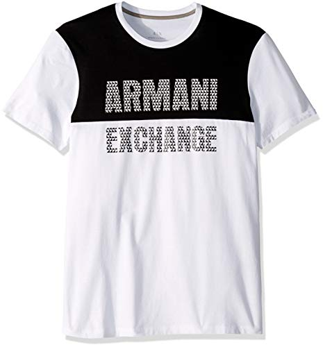 A|X Armani Exchange Men's Basketball Inspired Graphic tee, White/Black, S ()