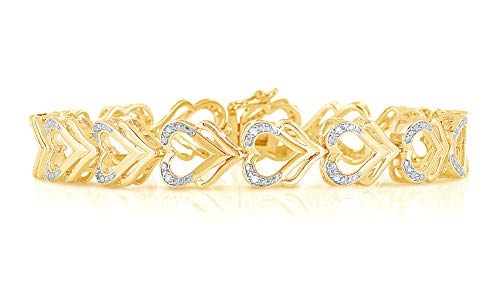 NATALIA DRAKE 1/10cttw Yellow Heart Shape Diamond Tennis Bracelet (10K Yellow Gold Over Sterling Silver)