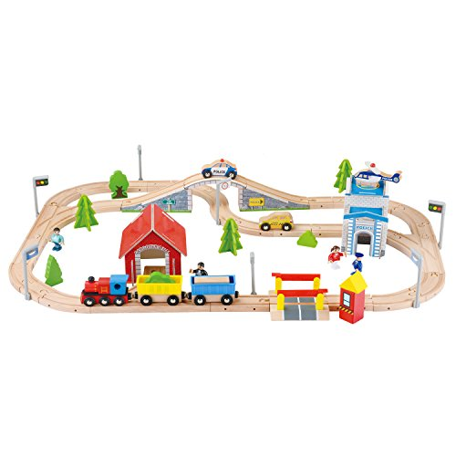 Qichuang USA 80 pcs Wooden Train Track Set Compatible with Thomas Brio Chuggington Toys for 3 Year Old Kids Toddlers Girls and Boys Imagination and Inspiration Wooden Train