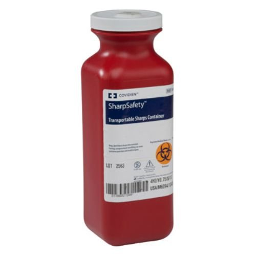 Covidien 8909 SharpSafety Transportable Sharps Container with Screw Cap, 1.5 Quart Capacity, 10'' Height x 6-1/4'' Depth x 14-1/4'' Width, Transparent Red (Pack of 20) by COVIDIEN