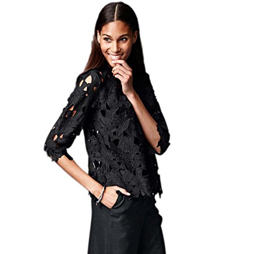 (WeHeart Womens Sweet Floral Embroidery Floral Print Relaxed Cutwork Lace T- Shirts Blouse (Black XL))