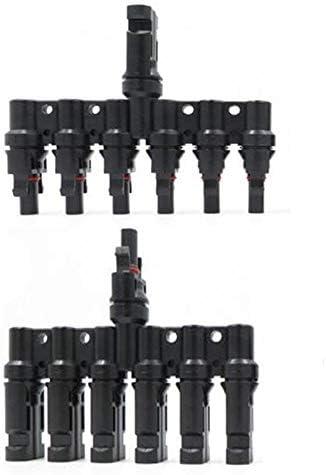 JJDD MC4 T-Abzweigverbinder, 1 Paar MC4-Stecker weiblich, 1 zu 6 Photovoltaik-Stecker, Adapter Solarmodul, Kabel Stecker für Solarpanel, 2 Stück