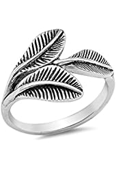 .925 Sterling Silver Bohemian Feather Wrap Ring Antique Finish
