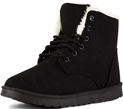Keluomanduo Women's Winter Snow Boots Fur Liners Lace Up Short Basic Ankle Booties 6 Black ()