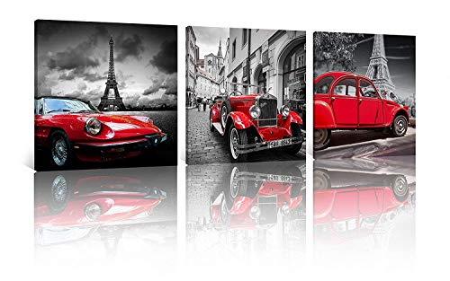 NAN Wind 3 Pcs Modern Giclee Canvas Prints Paris Black and White with Eiffel Tower Vintage Red Car Wall Art Landscape Wall Decor Paintings on Canvas Stretched and Framed Ready to Hang for Home Decor