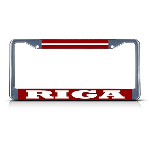 Latvia RIGA Metal License Plate Frame Tag Border Two Holes Perfect for Men Women Car garadge Decor ()