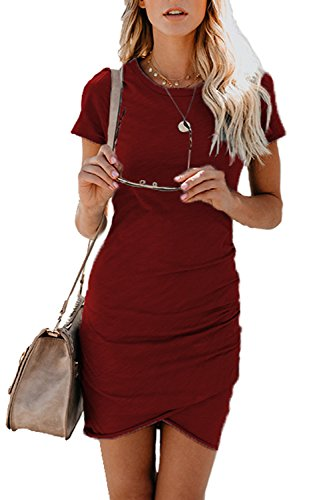 Shirt Pencil Wine Women's Bodycon Sleeve Dresses Dress Assivia T Work Short Casual Red Mini vpwF0