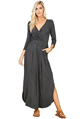 (Annabelle U.S.A Women Basic Solid Color Surplice Front Pocket Curve Hem Maxi Dresses for Plus Size Mid Grey X-Large D5241B)
