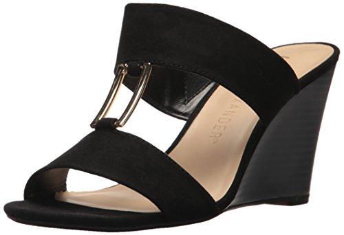 Athena Alexander Women's Ellis Wedge Sandal, Black Suede, 6 M US