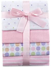 4-Pack Flannel Receiving Blankets, Pink,28 x 28