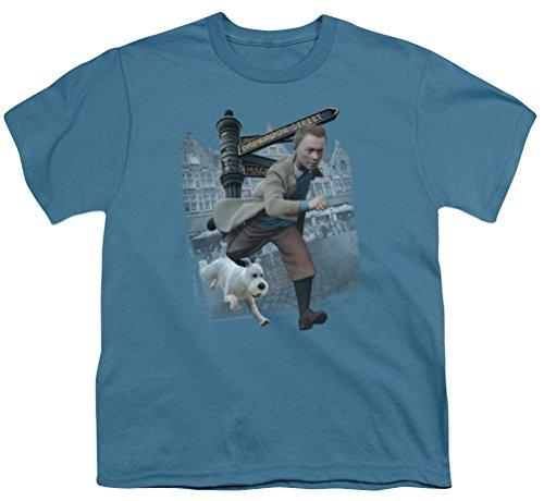 The Adventures Of Tintin Kids T-Shirt Labrador Street Slate Blue Shirt Youth -
