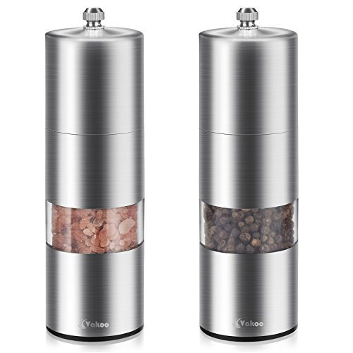 Salt and Pepper Grinders Set of 2, Vakoo Manual Stainless Steel Pepper Mill and Salt Shakers with Adjustable Ceramic Rotor and Visible (Pepper Mill Ceramic Shaker)