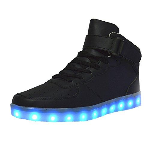 SAGUARO® 7 Farbe USB Aufladen LED Leuchtend Leuchtschuhe Blinkschuhe Sport Schuhe für Herren Damen
