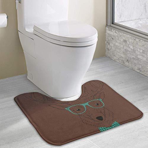 Bennett11 Mr Deer Contour Bath Rugs,U-Shaped Bath Mats,Soft Memory Foam Bathroom Carpet,Nonslip Toilet Floor Mat 19.2″x15.7″