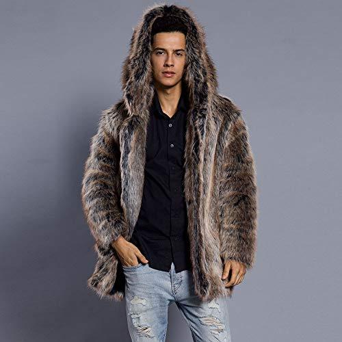 Hombres Sintética Estampado Marrón Con Cárdigan Cuello De nbsp;abrigo Piel Gruesa Cebbay Chaquetas Leopardo Para XCFTpZx