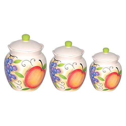 Lorenzo Fruit Design 3 Piece Deluxe Canister Set, Orange Fruit Kitchen Canisters