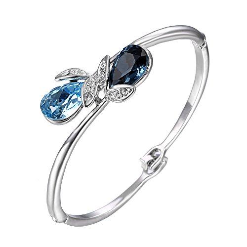 (EL8TION Jewelry for Women   Costume Jewelry Bracelets for Women   Made with Genuine Swarovski Crystals   Rhinestone Leaf Jewel Bar Bracelet   Blue)