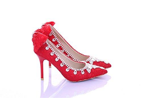 Red Heel Bridal Women's Pumps Wedding Bridesmaid LL139 Miyoopark Evening 10cm Shoes Bowknot 7qnzBAwO