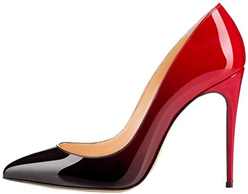 Calaier Damen Cashop 12CM Stiletto Schlüpfen Pumps Schuhe Mehrfarbig