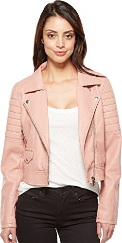 [BLANKNYC] Blank NYC Women's Vegan Leather Moto Jacket In Pretty In Pink Pretty In Pink Large - Blank Ladies Leather