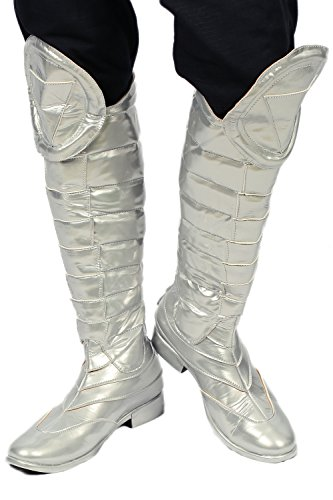 Gambit Costume Cosplay (Gambit Costume Cosplay Boots Shoes Silver PU Riding Thigh-boot Halloween US9.5)