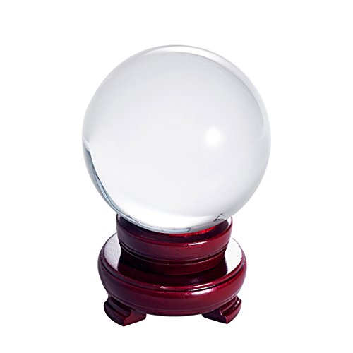 LONGWIN 100mm (3.9 inch) Clear Crystal Ball for Photography Fortune Telling Free Wooden Stand with Gift Pakcing -