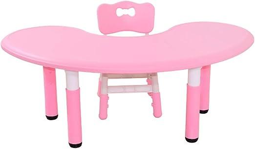 Juego de mesa y silla para niños, mesa de luna de plástico y silla ergonómica ajustable