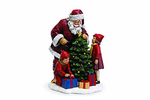 (Santa Claus with Children and Tree 15 Inch Resin Christmas Tabletop Figurine)