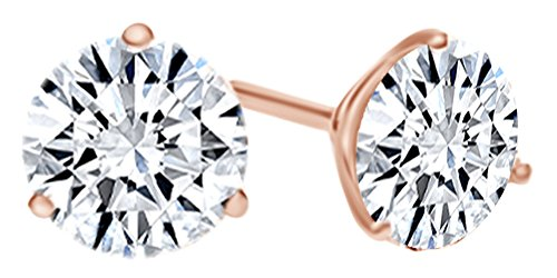 Round Shape White Natural Diamond Martini Style Stud Earrings In 14K Solid Rose Gold (0.5 Ct)