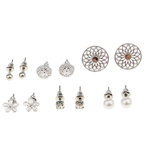 - 6 Pairs Earring Mixed Flower Ball Pearl Crystal Ear Stud Earring Ornament