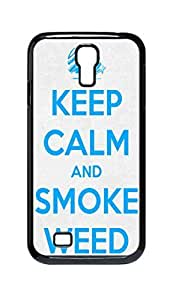 Cool Painting keep calm and smoke weed Snap-on Hard Back Case Cover Shell for Samsung GALAXY S4 I9500 I9502 I9508 I959 -608