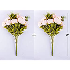 Foraineam Peony Artificial Flowers Home Centerpiece Decor Silk Fake Peonies Wedding Bouquets, Pack of 2 (Spring Pure Pink) 4
