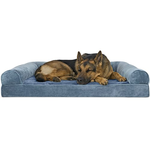FurHaven Pet Dog Bed | Orthopedic Faux Fur & Velvet Sofa-Style Couch Pet Bed for Dogs & Cats, Harbor Blue, -