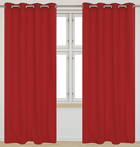 LJ Home Fashions Karma Cotton Like Grommet Curtain Panels Set of 2 54×95-in