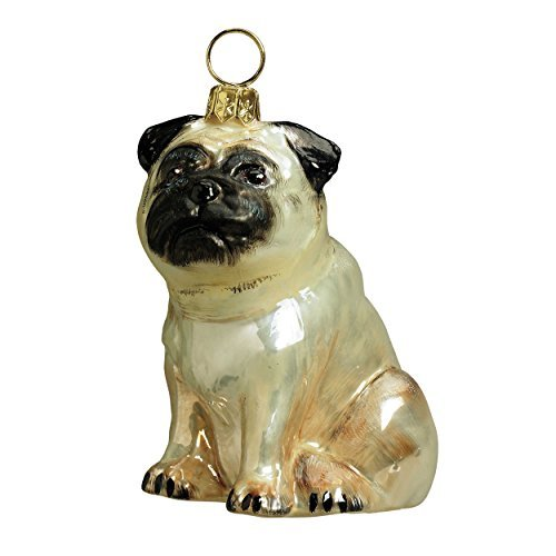 Joy Glass (Joy to the World Collectibles European Blown Glass Pet Ornament, Pug Fawn)