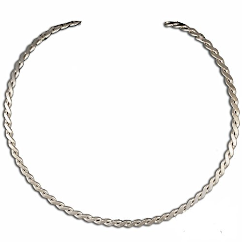 New Shiny Silver Thin Twisted Wire Choker Collar Necklace (CH9)
